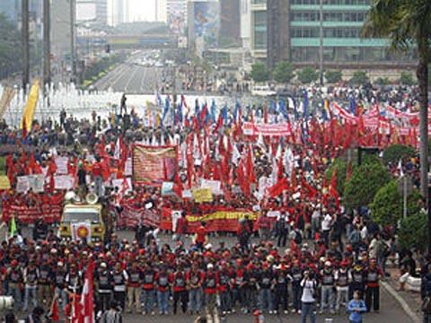 Demonstrasi yang digelar di Jakarta untuk memperingati Hari Buruh