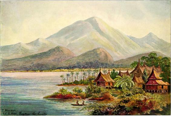01.Lukisan suasana perkampungan dan danau Singkarak oleh Ernst Haeckel (sumber: http://id.wikipedia.org/wiki/Berkas:Haeckel_Singkarak.jpg )