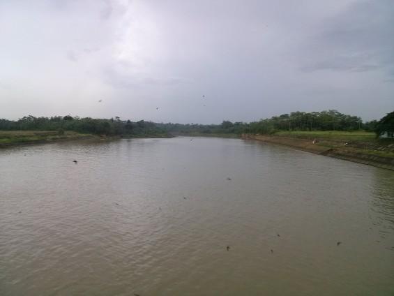 Aliran Sungai Ciujung menuju Serang, dilihat dari Bendungan Pamarayan.