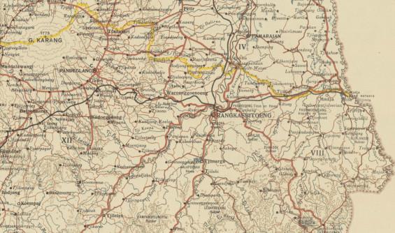 Peta Kota Rangkasbitung, berada di titik sungai.