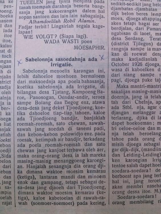 Potongan Surat Terbuka Bupati Lebak, Gondosapoetro (8 Juli, 1930), Banten-Bode.