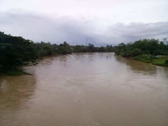 Sungai Ciujung dilihat dari atas jembatan jalan Sukarno-Hatta di Rangkasbitung.