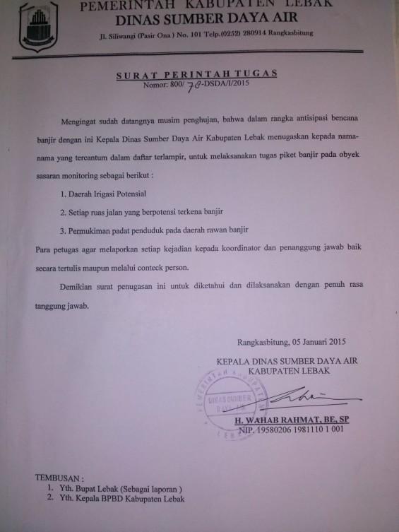 Surat Edaran dari Dinas Perairan Kabupaten Lebak.