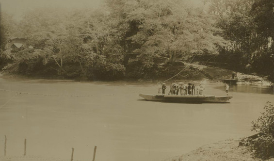 Hulu di Tjioedjoeng di Rangkasbitoeng , di tempat di mana jalur kereta api di Batavia ke Banten untuk datang. Diakses dari situs web Tropenmuseum.