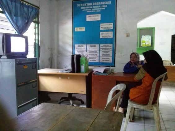 Suasana di dalam Kantor Kelurahan Cijoro Lebak.