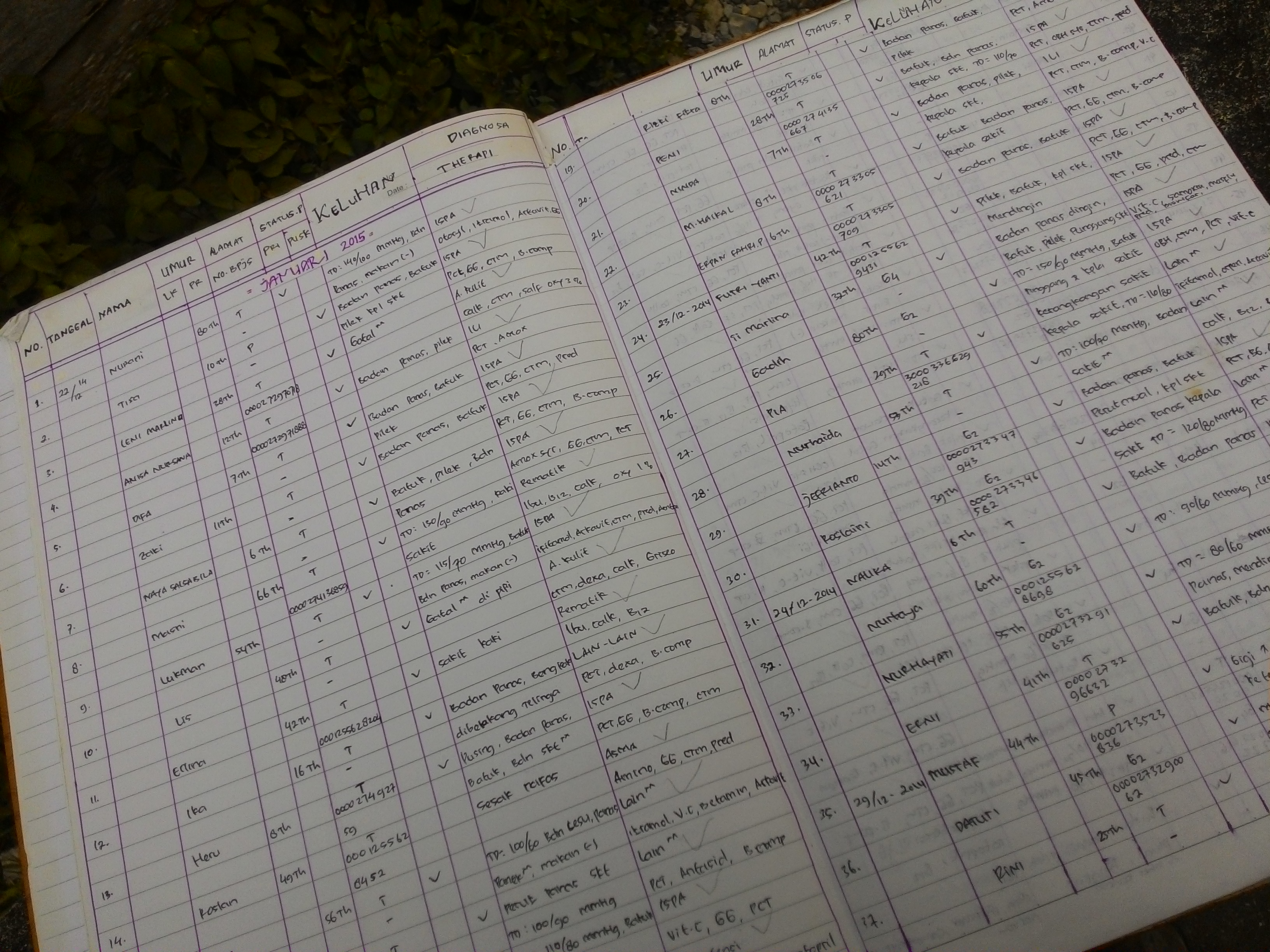 Data dan jenis penyakit pasien di Muaro Pingai (catatan dari Bidan Sinta).